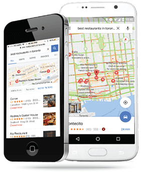 Mobile devices with presenting results of local searches for restaurants in Toronto, Ontario